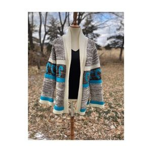 Christmas Cardigan Turquoise Candy Cane Holiday